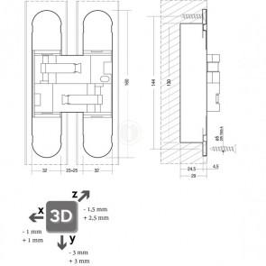 Scharnier 130 x 30 mm fiberglas – nikkel 3D verstelbaar